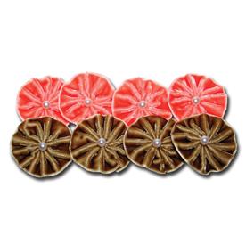 TK1495 - Velvet Pleat Blossoms - Pumpkin & Latte